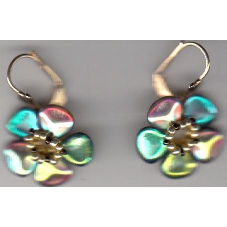 Boucles d'oreilles Fleur rainbow