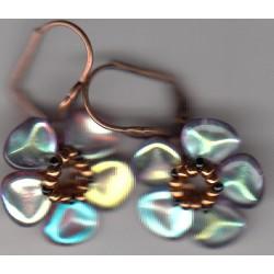 Boucles d'oreilles Fleur rainbow bronze