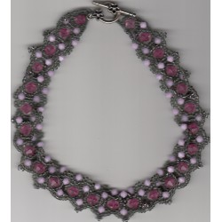 Collier Elspeth gris rose blanc