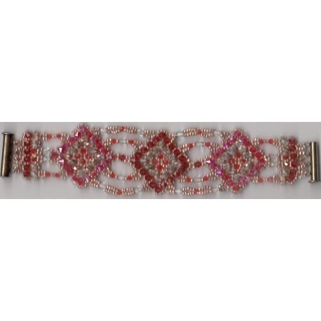 Bracelet Mosaïque vintage rose indian red