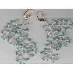 Boucles d'oreilles corail blanc bleu