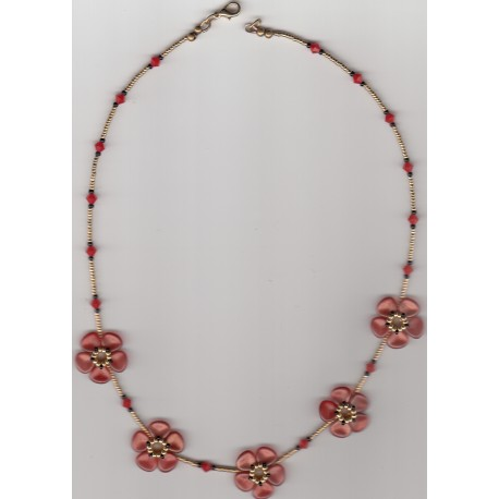 Collier Fleurs red