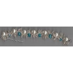 Bracelet Falbala blanc bleu avec perles