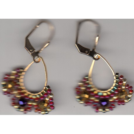 Boucles d'oreilles Arhaima fuschia multicolore