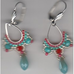 Boucles d'oreilles Arhaima turquoise rouge
